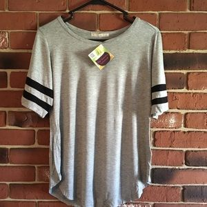 Sporty Gray Tee With Black Stripes